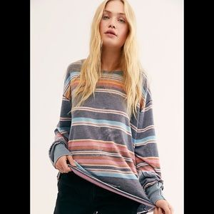 We The Free People Arielle Printed Striped Tee